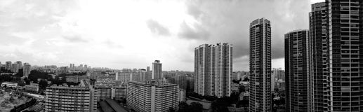 Panorama - Toa Payoh skyline (Greyscale) stock photography