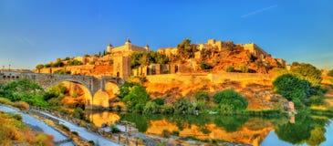 Panorama of Toledo with the Alcantara Bridge, Spain Stock Photography
