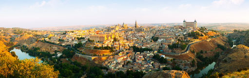 Panorama of Toledo in sunny morning Royalty Free Stock Images