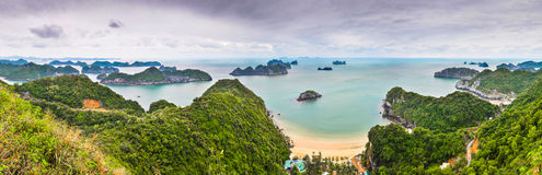 Panorama from the top of Cat Ba Island Stock Images