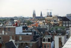 Panorama of the city of Amsterdam in the Netherlands. Panorama from the top of the city of Amsterdam in the Netherlands stock images