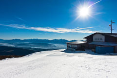 Panorama from the top of Gerlitzen at the beginning of winter season in Austrian alps. Austria Royalty Free Stock Photos