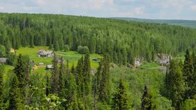 Panorama from top hill to mountains. Panorama from top hill to ural mountains stock video