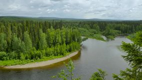 Panorama from top hill to ural. Mountains stock footage