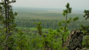 Panorama from top hill to ural. Mountains stock video
