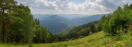 Panorama from the top of Mount Tserkovka in summer resort of Belokurikha in Altai Krai Royalty Free Stock Photo