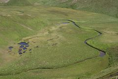 Panorama from the top of the river floodplain with tundra lakes Royalty Free Stock Photos