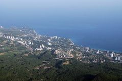 Panorama.Top view. Beautiful city view from the mountain. Yalta. Crimea Royalty Free Stock Photos