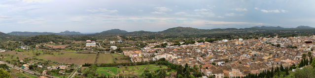 Panorama Top view of the small town. On the island of Mallorca, Spain Stock Photos