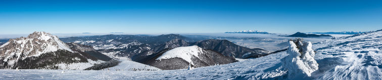 Panorama from top of winter mountains Royalty Free Stock Photo