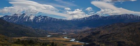 Panorama of Torres del Paine, Patagonia Stock Photos