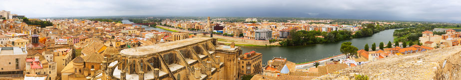 Panorama of  Tortosa with Cathedral from Suda castle Stock Images