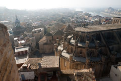 Panorama of  Tortosa with Cathedral from Suda castle. Catalonia, Royalty Free Stock Images