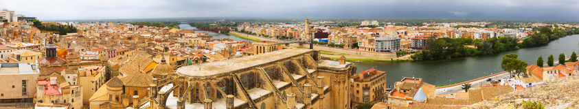 Panorama of  Tortosa with Cathedral from Suda castle Stock Photo