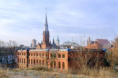 Panorama of Torun, old medieval town in Poland. Gothic church towers of old town Torun, listed by UNESCO organisation stock image