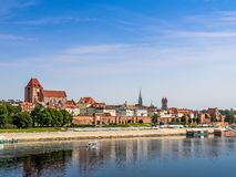 Panorama of Torun. Panorama of old town Torun over the Vistula river, Poland Stock Image