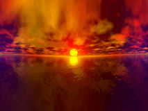 Panorama total de la puesta del sol ilustración del vector