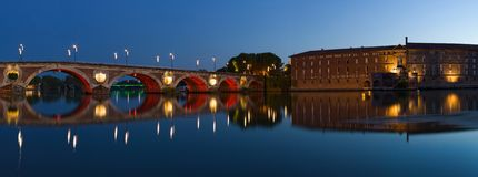 Panorama of Toulouse: New Bridge and City Hotel royalty free stock photo