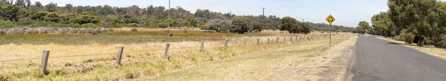 Panorama of tourist drive along estuary. Royalty Free Stock Photos