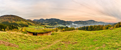 Panorama with a tourist hut in Sudetes, Poland Stock Image