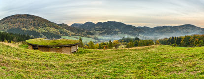 Panorama with a tourist hut in Sudetes, Poland Royalty Free Stock Photo
