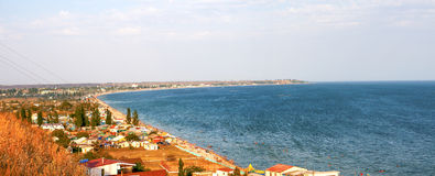 Panorama of a tourist town on shore of the sea Stock Photography