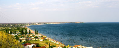 Panorama of a tourist town on shore of the sea Royalty Free Stock Images