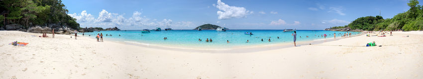 Panorama of tourists on the beach at Similan island Royalty Free Stock Image