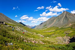 Panorama Tourists go on the green field of mountain valley. Blue sky Stock Image
