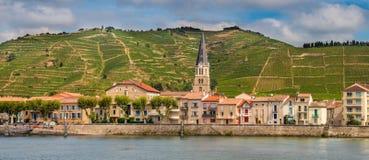 Panorama Tournon-sur Rhône Stockfoto