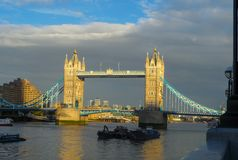 Panorama of the Tower Bridge, across the Thames in London.  stock photo
