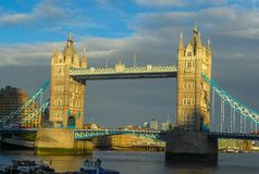 Panorama of the Tower Bridge, across the Thames in London.  royalty free stock photography