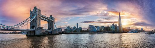 Panorama from the Tower Bridge to the Tower of London. United Kingdom, during sunset stock photography