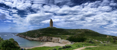 Panorama of the Tower of Hercules lighthouse in Galicia, Spain. Oldest working roman lighthouse in the world near the city of A Coruna Stock Photo