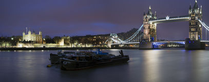 Panorama of Tower of London and Tower Bridge. At night Royalty Free Stock Photos
