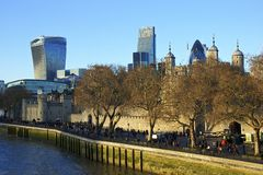 Panorama of Tower and London in winter Royalty Free Stock Photo