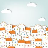 Panorama town. Houses with white walls and orange roofs Stock Photo