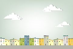 Panorama town. Creative vector applique Royalty Free Stock Images