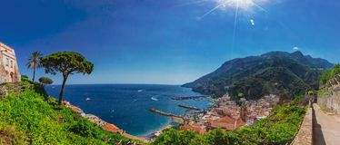 Panorama of the town of Amalfi, on the Amalfi coast of Italy royalty free stock photos