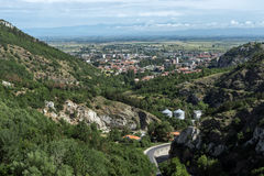 Panorama of town of Asenovgrad from Asen`s Fortress, Bulgaria Royalty Free Stock Photos