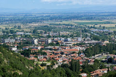 Panorama of town of Asenovgrad from Asen`s Fortress,  Bulgaria Royalty Free Stock Images