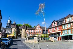 Panorama of the town Braunfels with half-timbered houses in Hesse, Germany royalty free stock images