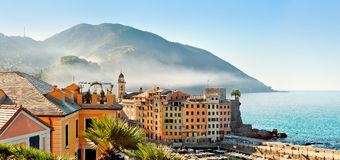 Panorama of town Camogli in fog in the morning Stock Images