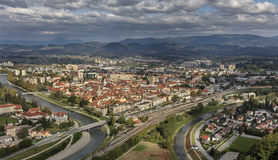 Panorama of town Celje. On the junction of river Savinja and Voglajna, Slovenia Royalty Free Stock Photos