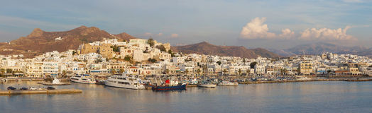 The panorama of town Chora (Hora) on the Naxos island at evening light in the Aegean Sea. Royalty Free Stock Image