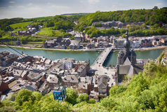 Panorama of town Dinant Stock Photos