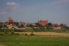 Panorama of the town Gniew Stock Image