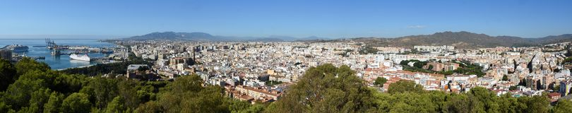 Panorama of the town Malaga in Andalucia royalty free stock photo