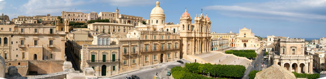 Panorama of the town of Noto on Italy Stock Photography