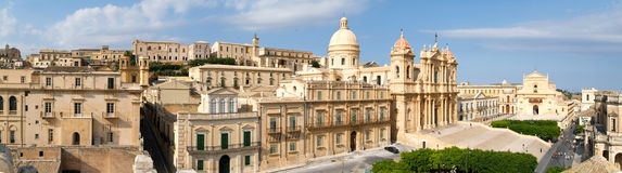 Panorama of the town of Noto on Italy Royalty Free Stock Photo